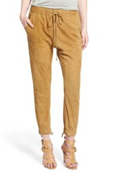 Pam And Gela High Rise Lace Up Suede Jogger Pants Beige