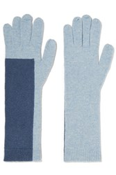 Duffy Two Tone Wool Blend Gloves Light Blue