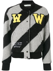 Off White Varsity Jacket Cotton Acrylic Polyamide Styrene Butadiene Rubber Sbr Grey