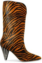 Attico Betta Crystal Embellished Tiger Print Calf Hair Ankle Boots Leopard Print