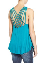 Junior Women's Sun And Shadow Cross Back Knit Tank Teal Steel