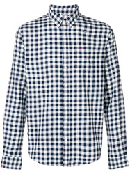 Sun 68 Checked Button Down Shirt Blue