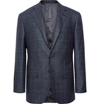 Thom Sweeney Storm Blue Slim Fit Checked Wool Silk And Cashmere Blend Blazer Blue