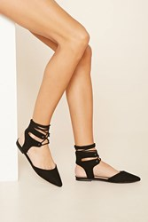 Forever 21 Pointed Lace Up Flats