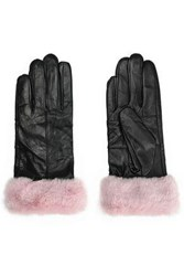 Surell Faux Fur Trimmed Leather Gloves Pastel Pink