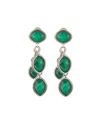 Lagos Malachite Doublet Multi Drop Earrings Green