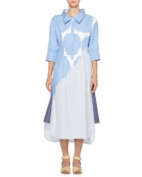 Stella Mccartney Striped 3 4 Sleeve Shirtdress Blue White Blue White