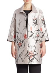 Caroline Rose All In Bloom Floral Jacquard Long Jacket Iced Coral