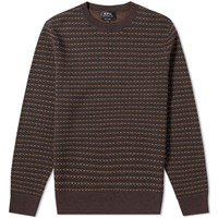 A.P.C. Dito Textured Crew Knit Brown
