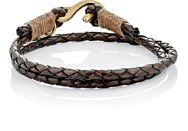 Caputo And Co Braided Leather Double Wrap Bracelet Brown