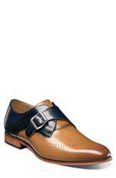 Stacy Adams Men's Saxon Perforated Monk Shoe Tan Navy Leather