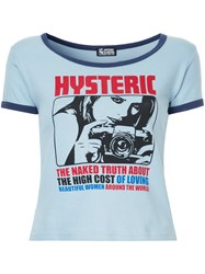 Hysteric Glamour Printed T Shirt Cotton Blue