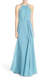 Amsale Women's 'Delaney' Belted A Line Chiffon Halter Dress Teal