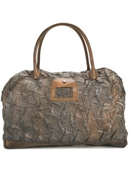 Numero 10 Textured Overnight Tote Bag Leather Brown
