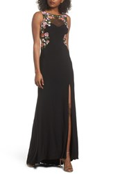 Blondie Nites 'S Embellished Sheer Back Knit Gown Black Multi