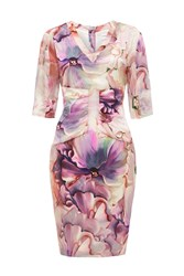 Almost Famous Artistic Floral Silk Dress Pale Pink