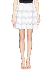 Azzedine Alaia Scallop Edge Chevron Knit Flare Skirt White