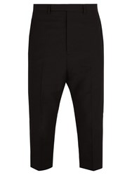 Rick Owens Astaires Cropped Wool Trousers Black