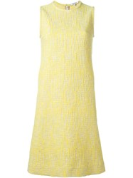 Carven Tweed Shift Dress Yellow And Orange