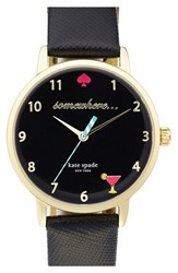 Women's Kate Spade New York 'Metro Somewhere' Leather Strap Watch 34Mm Black Black
