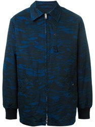 Alexander Wang Oversized Camouflage Shirt Jacket Blue