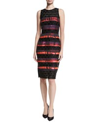 Carmen Marc Valvo Sleeveless Sequined Lace Striped Cocktail Sheath Dress Geranium