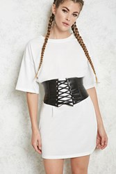 Forever 21 Corset T Shirt Dress White Black