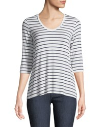 Majestic Soft Touch 3 4 Sleeve Striped Top White Blue