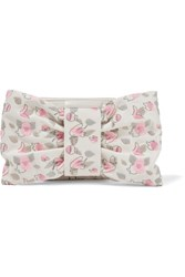 Red Valentino Redvalentino Bow Embellished Embroidered Faux Leather Clutch Ecru