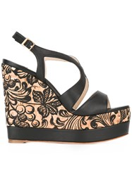 Paloma Barcelo Floral Wedge Sandals Black