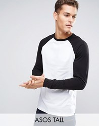 Asos Tall Long Sleeve T Shirt With Contrast Raglan White Black