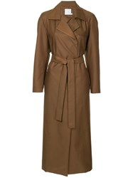 Christopher Esber Belted Trench Coat Brown