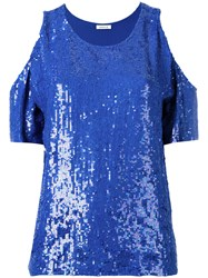 P.A.R.O.S.H. Could Shoulder Sequin Top Blue