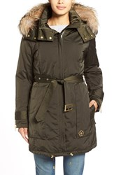 Women's Trina Turk 'Jeri' Belted Down Parka With Genuine Fox Or Coyote Fur Trim