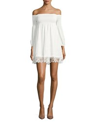 Bb Dakota Lace Trimmed Off The Shoulder Dress Ivory