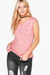 Boohoo Crinkle Button T Shirt Pink
