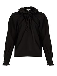 Stella Mccartney Ruffled Silk Crepe Blouse Black