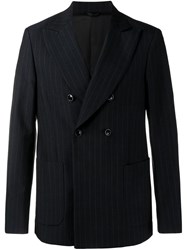 Raf Simons Pinstripe Double Breasted Blazer Blue