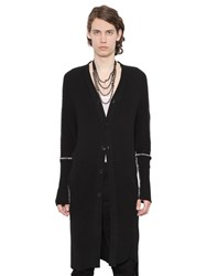 Ann Demeulemeester Printed Cotton And Cashmere Knit Cardigan