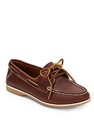 Clarks Jetto Leather Boat Shoes Brown