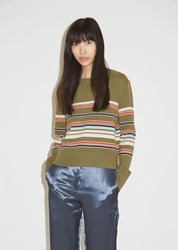 Sies Marjan Freddy Wool And Cashmere Striped Cropped Sweater Olive Multi Stripe