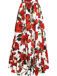 Dolce And Gabbana Rose Print Pleated Skirt Red