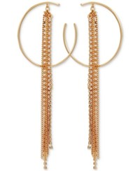 Guess Crystal Hoop And Multi Chain Fringe Drop Earrings Gold