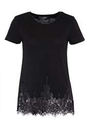 Hallhuber T Shirt With Lace Hem Black