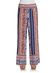 Romeo And Juliet Couture Printed Wide Leg Pants Orange Multi