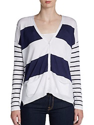 Design History Mixed Striped Cardigan White Combo