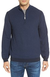 Tommy Bahama Men's Big And Tall Make Mine A Double Reversible Quarter Zip Sweater Deep Marine