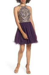 Blondie Nites High Neck Applique Fit And Flare Dress Eggplant Gold