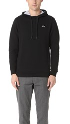Lacoste Sport Pull Over Fleece Hoodie Black Silver Chine