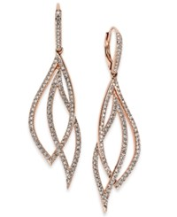 Danori Rose Gold Tone Laurel Pave Drop Earrings